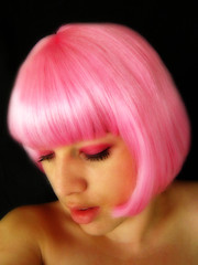 52 Weeks, Week 46 (159:365) (Julie Moo) Tags: pink selfportrait june canon hair eyes moo wig 2008 orton week46 day159 52weeks project365 ixus70