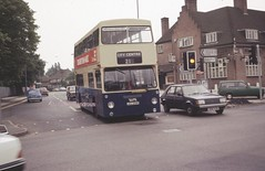 The Green Man at Harborne, Birmingham, June 1985. (Lady Wulfrun) Tags: road london june pub 21 horizon transport route service 1985 westmidlands daimler talbot greenman fleetline dms harborne pte 5525 metchleylane wmpte jgu294k banghampit
