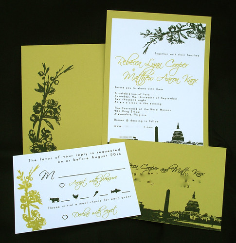 Whimsical: These beautiful invitations are screen printed using a Gocco.  Unfortunately Goccos are hard to find these days but you could recreate a similar look using photoshop and your printer.