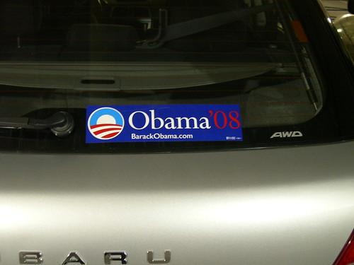 支持歐巴馬的汽車貼紙(Obama '08)