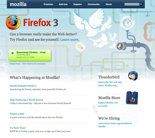 Mozilla.com homepage (Firefox 3 version)