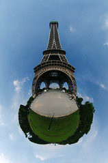 Eiffel tower (Man) Tags: panorama tower tour eiffel full explore champdemars handheld 180 spherical 360 planetoid hugin enblend interestingness6 i500 littleplanet nn3 manuperez