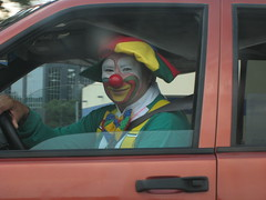 Clown, on his way to work