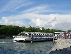 River bus. (tracyhughes2_7. CPAGB LRPS) Tags: blue trees sky people white paris bus green water clouds river boat step digitalcameraclub cherryontop justclouds 100commentgroup