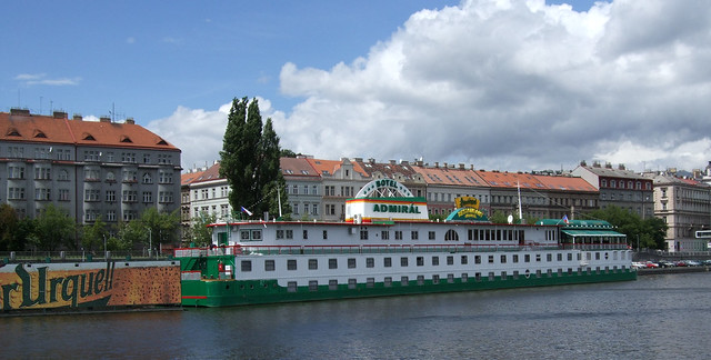 The Hotel Admiral Botel on the Vltava River, Prague.