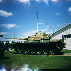Lomo M60 tank at New Troy American Legion, Wee-Chik Post (kevin dooley) Tags: world camera old 2 two favorite color 120 film beautiful wow army iso100 us interesting fantastic lomo lomography war flickr pretty tank post very good michigan gorgeous awesome award superior super best most velvia diana winner stunning excellent ww2 fujifilm medium format much expired retired incredible breathtaking exciting americanlegion 518 phenomenal m60 weechik newtroy