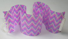 Cheshire (fivefootfury) Tags: pink white purple jewelry bracelet peyote cuff zigzag beaded beadwork delicas