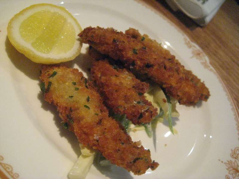 Gremolata crumbed fish fingers, green bean and endive salad