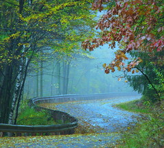 Fall is Just Around the Bend (Sandra Leidholdt) Tags: autumn usa mist fall fog wisconsin america automne us midwest unitedstates explore american autunno autumnal wausau amricain midwestern ribmountain autunnale explored sandraleidholdt leidholdt sandyleidholdt