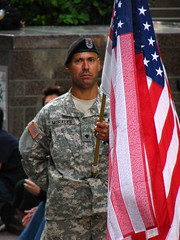 Soldier with Flag: September 11th 2008 (ajagendorf25) Tags: proud america soldier army us flag 911 honor ground september september11 11th beret 2008 zero victims september11th