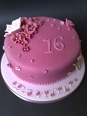 Pink Foral Birthday Cake (SmallThingsIced) Tags: pink floral cake butterfly pearls birthdaycake vanilla 16 sponge rosewater buttercream