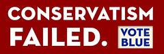 Conservatism Failed Bumper Sticker from CafePress.com/palinVsjesus