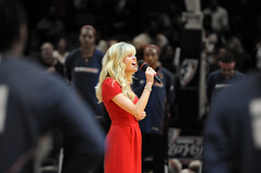 The anthem (noamgalai) Tags: red basketball photography photo dress singing picture photograph sing playoffs anthem allrightsreserved wnba   photomania playoff  semifinals detroitshock noamg newyorkliberty noamgalai