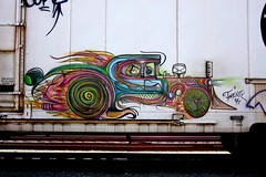 oh my god (flee the cities) Tags: art graffiti colorful hotrod 27 bnsf reefer railroadgraffiti deuceseven deuce7