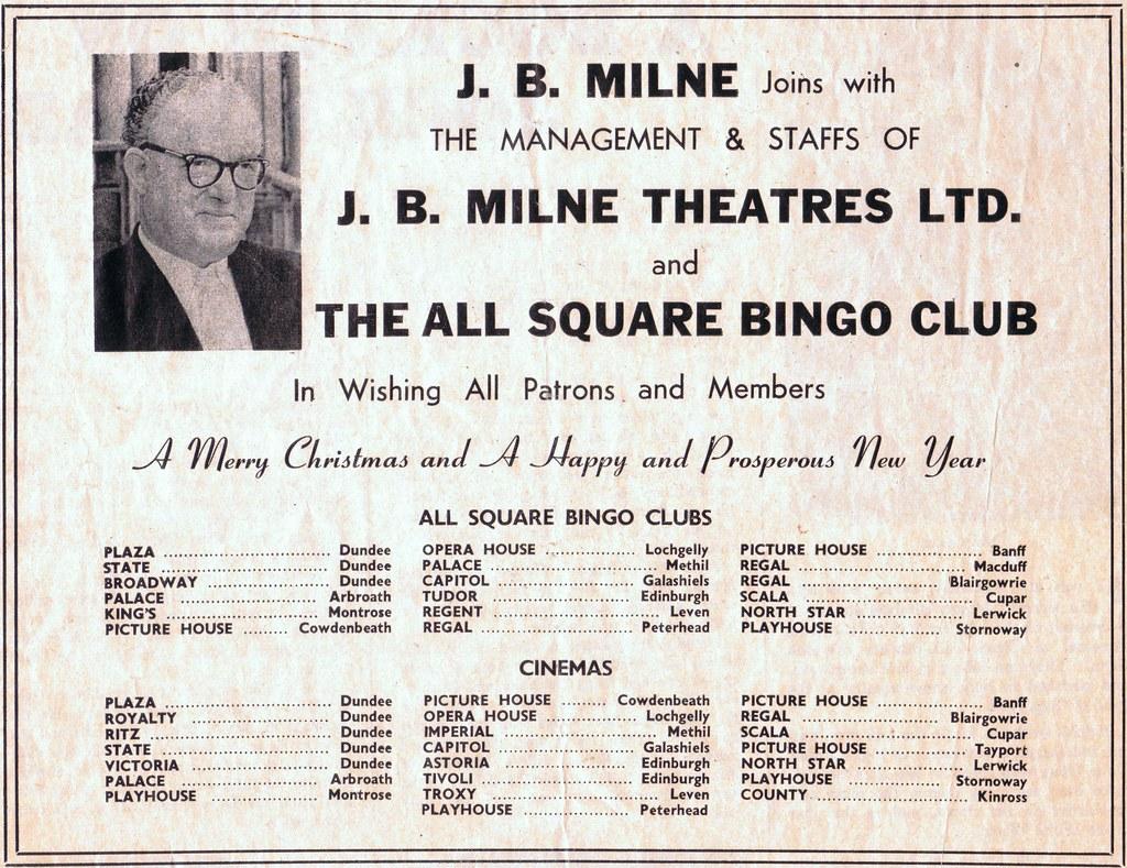 J. B. Milne Theatres - Christmas Greetings 1966