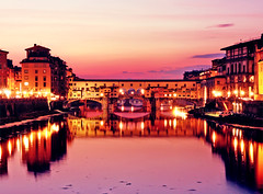 Ponte Vecchio (zapisol) Tags: old bridge pink light sunset red sky water night canon reflections river lens eos dawn lights evening photo florence poetry sigma ponte late firenze arno vecchio florens 450d