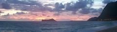 Sunrise panorama (lizochka_65) Tags: sea sky panorama beach clouds sunrise dawn waves oahu shore waimanalo rabbitisland