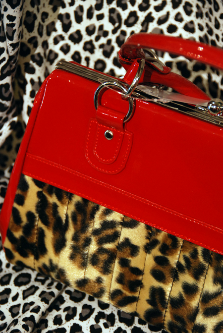 red fur handbag