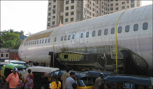 Abandoned Boeing 737 on Mumbai Street