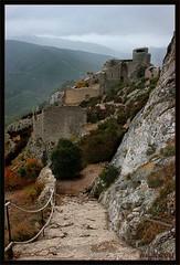 The Chteau de Peyrepeteuse Ruins (Ursula in Aus) Tags: france castle stone ancient ruins steps languedoc pyrnesorientales pyrennees sentiercathare languedocroussilon peyrepeteuse cathartrail catharepath chteaudepeyrepeteuse peyrepeteusecastle