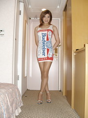 Budweiser minidress_12 (Kyoko Matsushita) Tags: stockings asian tv legs cd crossdressing tgirl transvestite heels budweiser pantyhose crossdresser kyoko matsushita minidress