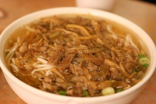 Shredded Pork with salted veg noodle soup