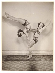 Turner Twins, acrobats, 1937 / by Sam Hood (State Library of New South Wales collection) Tags: blackandwhite bw girl pose twins newsouthwales balance acrobats performers flexibility statelibraryofnewsouthwales xmlns:dc=httppurlorgdcelements11 samhood varietyact turnertwins dc:creator=httpnlagovaunlaparty587349