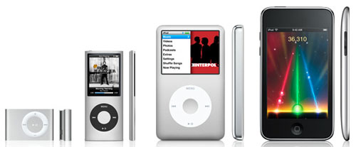 Precioso collage con toda la familia iPod, de izquierda a derecha el shufle, el nano, el classic y el touch