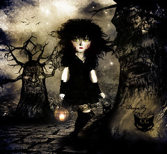 a Date with the darkness (  T_ !  ) Tags: trees light sky woman black love girl birds cat dark hair stars search doll darkness kuwait date q8