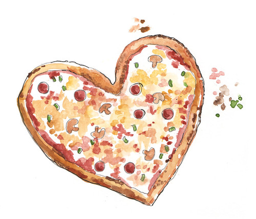 pizza with heart