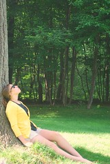 Thoughts (MargotLee) Tags: trees summer sun tree green girl sunglasses yellow time sunny teen summertime cardigan raybans