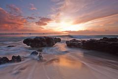 Kepuhi Beach Sunset #1, Molokai, Hawaii (maibrian) Tags: ocean travel sunset sky blur reflection beach water clouds canon landscape hawaii rocks surf waves filter 1022mm molokai gnd 40d graduatedneutraldensity leefilters kepuhi