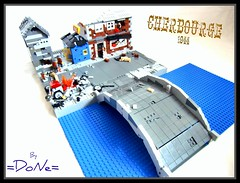 ww2 Cherbourg Update (=DoNe=) Tags: road city bridge water town village lego wwii homemade custom done 1944 kubelwagen brickmania ww2cherbourgeupdate