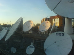 dish satellite communication bbc transmission britishbroadcastingcorporation
