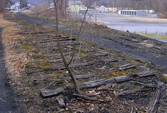 The end of the line (EBT, 2 of 16) (Thiophene_Guy) Tags: railroad abandoned rotting neglect ties pennsylvania top decay union tracks tie rail east mount pa forgotten broad derelict narrowgauge ebt originalworks dualgauge eastbroadtop thiopheneguy broadtop ebtrr