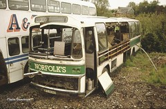 Norfolk's Scottish Pennine. (Lady Wulfrun) Tags: bus abandoned yard coach junk january scottish 1993 scrap hadleigh wrecked dfs partridges spares nayland bodied seddon pla
