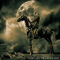 THE NIGHT OF QUIJOTE (Mariano Villalba) Tags: sky sculpture horse moon man color metal landscape rocks quijote surreal fantasy uc dreamcatcher digtal