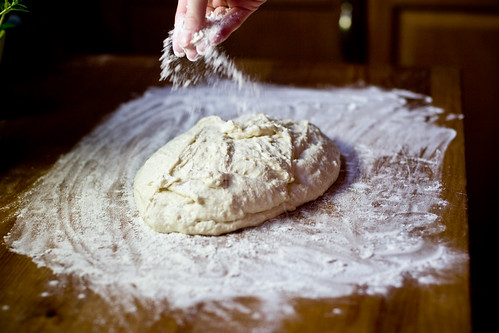 Dusting Focaccia Dough