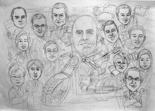 Caricatures group UBS Harley Davidson pencil sketch