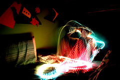 Rope lites (dragged to the future) Tags: selfportrait girl lights colorful shutterspeed