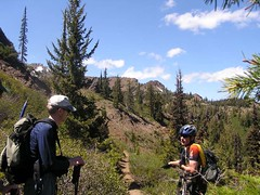 Gary talking to the mountain biker - Miller in upper left background