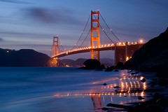Golden Gate Icon (Tyler Westcott) Tags: sanfrancisco california reflection night evening dusk goldengatebridge goldengate sanfranciscobay bluehour nikond40 marshallsbeach