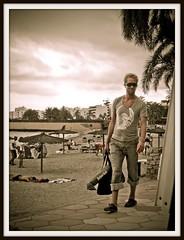 Safari Sub (FotoFling Scotland) Tags: gay beach smile bag shades ibiza figurettas