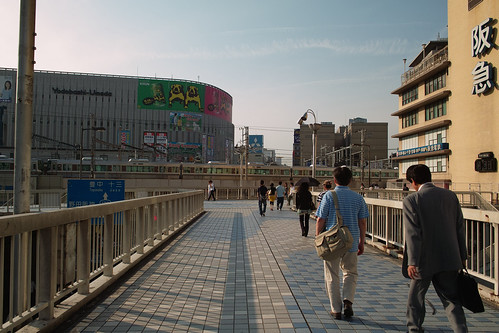 On the pedestrian overpass in front of Osaka Station