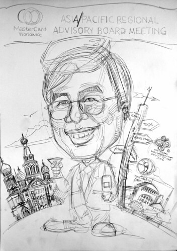 Caricature of TST Mastercard pencil sketch 2