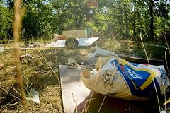 Other side of Lubon (Bart Plucinski) Tags: trip las bicycle forest garbage mess fisheye zenitar wielkopolska zenitar16mmf28 lubon