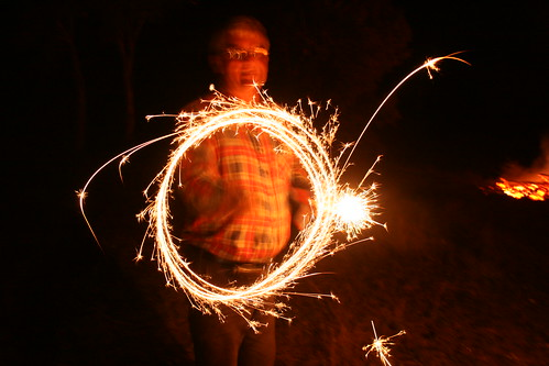 Dad with sparklers