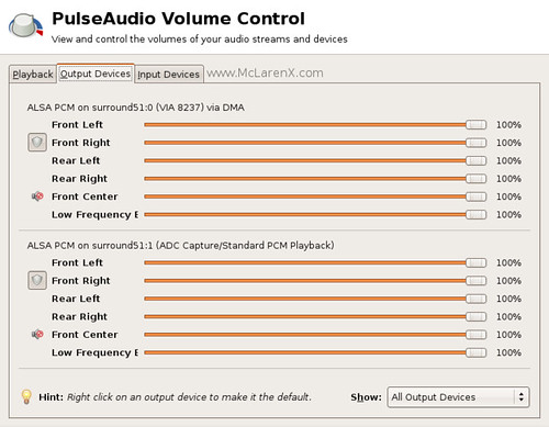 Output Devices - Volume Control - PulseAudio