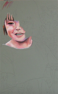 In progress photo of an as yet untitled drawing of a little girl.