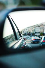 Monday traffic (Huey Yoong) Tags: door reflection car evening dof traffic bokeh rearviewmirror depthoffield nikkor85mmf18 toyotavios hbweve happybokehwednesdayeve